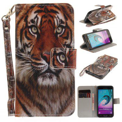 Cover Case for Samsung Galaxy J3 2016 (J310) Manchurian Tiger PU+TPU Leather with Stand and Card Slots Magnetic Closure