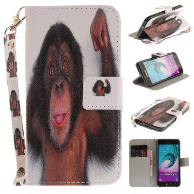 Cover Case for Samsung Galaxy J3 2016 (J310) Monkey PU+TPU Leather with Stand and Card Slots Magnetic Closure