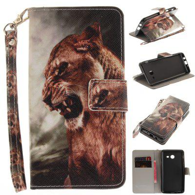 Cover Case for Samsung Galaxy J5 2017 A Male Lion PU+TPU Leather with Stand and Card Slots Magnetic Closure