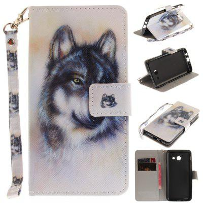 Cover Case for Samsung Galaxy J5 2017 Wolf PU+TPU Leather with Stand and Card Slots Magnetic Closure