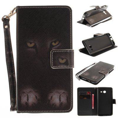 Cover Case for Samsung Galaxy J5 2017 Mystery Cat PU+TPU Leather with Stand and Card Slots Magnetic Closure
