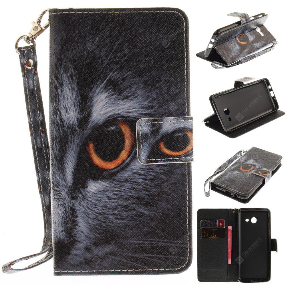 Cover Case for Samsung Galaxy J5 2017 Half Face of Cat PU+TPU Leather with Stand and Card Slots Magnetic Closure
