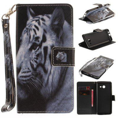 Cover Case for Samsung Galaxy J5 2017 The White Tiger PU+TPU Leather with Stand and Card Slots Magnetic Closure
