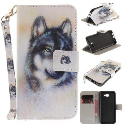 Cover Case for Samsung Galaxy J5 Prime Wolf PU+TPU Leather with Stand and Card Slots Magnetic Closure