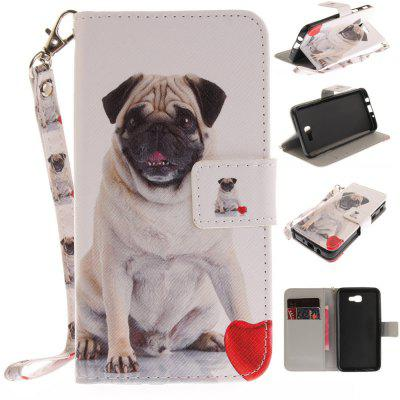 Cover Case for Samsung Galaxy J5 Prime Pug PU+TPU Leather with Stand and Card Slots Magnetic Closure