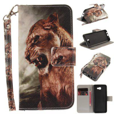 Cover Case for Samsung Galaxy J5 Prime A Male Lion PU+TPU Leather with Stand and Card Slots Magnetic Closure