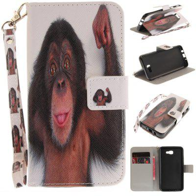 Cover Case for Samsung Galaxy J5 Prime Monkey PU+TPU Leather with Stand and Card Slots Magnetic Closure