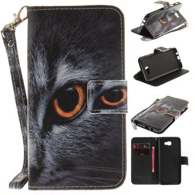 Cover Case for Samsung Galaxy J5 Prime Half A Face of A Cat PU+TPU Leather with Stand and Card Slots Magnetic Closure