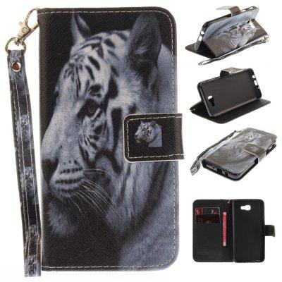 Cover Case for Samsung Galaxy J5 Prime The White Tiger PU+TPU Leather with Stand and Card Slots Magnetic Closure