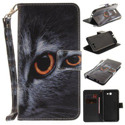 Cover Case for Samsung Galaxy J7 2017 Half A Face of A Cat PU+TPU Leather with Stand and Card Slots Magnetic Closure
