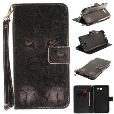 Cover Case for Samsung Galaxy J7 2017 Mystery Cat PU+TPU Leather with Stand and Card Slots Magnetic Closure