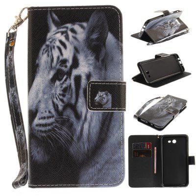 Cover Case for Samsung Galaxy J7 2017 The White Tiger PU+TPU Leather with Stand and Card Slots Magnetic Closure