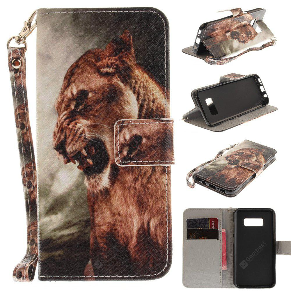Cover Case for Samsung Galaxy S8 Plus A Male Lion PU+TPU Leather with Stand and Card Slots Magnetic Closure
