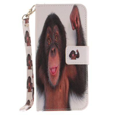Cover Case for Samsung Galaxy S8 Monkey PU+TPU Leather with Stand and Card Slots Magnetic Closure cover case for huawei p10 lite half a face of a cat pu tpu leather with stand and card slots magnetic closure
