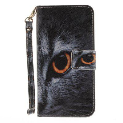 Cover Case for Huawei P10 Lite Half A Face of A Cat PU+TPU Leather with Stand and Card Slots Magnetic Closure mediapad m3 lite 8 0 skin ultra slim cartoon stand pu leather case cover for huawei mediapad m3 lite 8 0 cpn w09 cpn al00 8