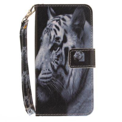 Cover Case for Huawei P8 Lite 2017 The White Tiger PU+TPU Leather with Stand and Card Slots Magnetic Closure cover case for huawei p10 lite half a face of a cat pu tpu leather with stand and card slots magnetic closure