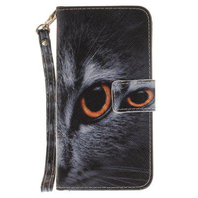 Cover Case for Huawei P8 Lite 2017 Half A Face of A Cat PU+TPU Leather with Stand and Card Slots Magnetic Closure a cat a hat and a piece of string