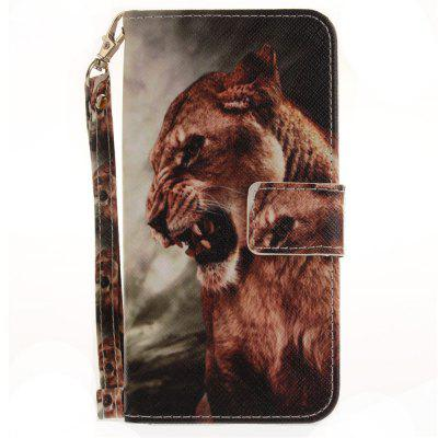 Cover Case for Huawei P8 Lite 2017 A Male Lion PU+TPU Leather with Stand and Card Slots Magnetic Closure huawei p8 lite