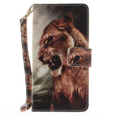 Cover Case for Huawei P8 Lite A Male Lion PU+TPU Leather with Stand and Card Slots Magnetic Closure cover case for huawei p10 lite half a face of a cat pu tpu leather with stand and card slots magnetic closure