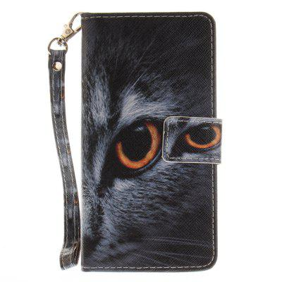 Cover Case for Huawei P8 Lite Half A Face of A Cat PU+TPU Leather with Stand and Card Slots Magnetic Closure huawei p8 lite