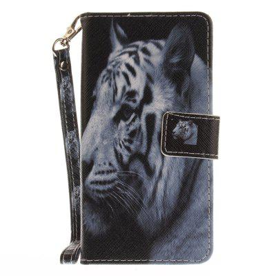 Cover Case for Huawei P8 Lite The White Tiger PU+TPU Leather with Stand and Card Slots Magnetic Closure cover case for huawei p10 lite half a face of a cat pu tpu leather with stand and card slots magnetic closure