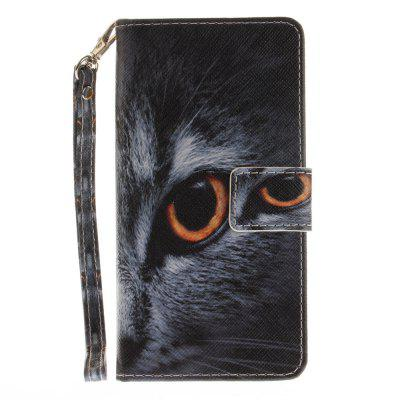Cover Case for Huawei Honor 8 Half A Face of A Cat PU+TPU Leather with Stand and Card Slots Magnetic Closure a cat a hat and a piece of string