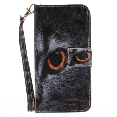 Cover Case for ASUS Zenfone 3 ZE520KL Half A Face of A Cat PU+TPU Leather with Stand and Card Slots Magnetic Closure a cat a hat and a piece of string