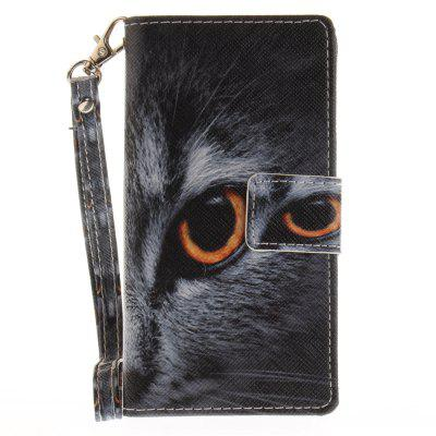 Cover Case for Sony X Compact X Mini Half A Face of A Cat PU+TPU Leather with Stand and Card Slots Magnetic Closure a cat a hat and a piece of string