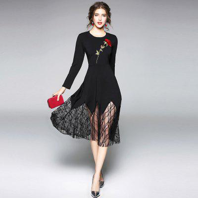 Long Sleeve Round Neck Embroidery Lace Patchwork DressBodycon Dresses<br>Long Sleeve Round Neck Embroidery Lace Patchwork Dress<br><br>Dresses Length: Mid-Calf<br>Elasticity: Micro-elastic<br>Embellishment: Embroidery<br>Fabric Type: Cotton and kapok hemp<br>Material: Cotton Blend<br>Neckline: Round Collar<br>Occasion: Business, Work, Singing, Cocktail &amp; Party, Bridal<br>Package Contents: 1 x Dress<br>Pattern Type: Floral<br>Season: Spring, Fall<br>Silhouette: A-Line<br>Sleeve Length: Long Sleeves<br>Style: Brief<br>Waist: Natural<br>Weight: 0.5500kg<br>With Belt: No