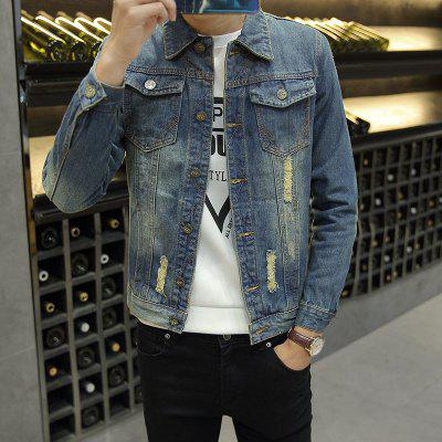 Young Retro Hole Casual Denim JacketMens Jackets &amp; Coats<br>Young Retro Hole Casual Denim Jacket<br><br>Clothes Type: Jackets<br>Collar: Turn-down Collar<br>Fabric Type: Denim<br>Material: Jeans<br>Package Contents: 1 x Jacket<br>Season: Spring, Summer, Fall, Winter<br>Shirt Length: Regular<br>Sleeve Length: Long Sleeves<br>Style: Casual<br>Weight: 0.4900kg