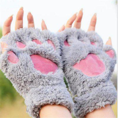 Cat Claw Half-finger Gloves Winter Lovely Gloves for Women and Girls