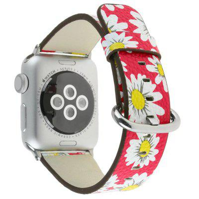 For 38MM iWatch Series 3/2/1 Chrysanthemum Pattern Genuine Leather Strap Flower Design Wrist Watch Bracelet 1 1 scale butterfly clasp stainless steel watchband bracelet for apple watch 42mm series 2 series 1 silver