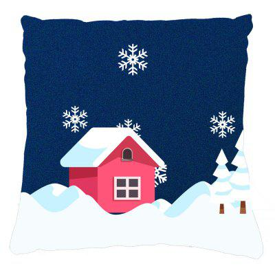 Winter Home Decor Red House Snow Pillow Cases