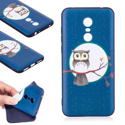 Relief Silicone Case for Xiaomi Redmi 5 Plus Moon and Owl Pattern Soft TPU Protective Back Cover
