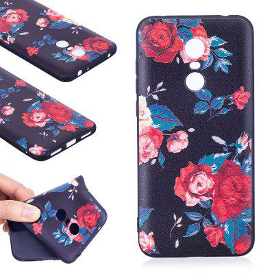 Relief Silicone Case for Xiaomi Redmi 5 Plus Red Flowers Pattern Soft TPU Protective Back Cover