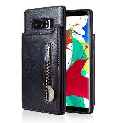 Leather Business Case for Samsung Galaxy Note 8 Zipper Handbag Wallet Flip Cover metal ring holder combo phone bag luxury shockproof case for samsung galaxy note 8