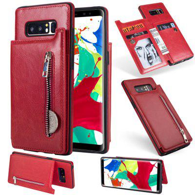 Leather Business Case for Samsung Galaxy Note 8 Zipper Handbag Wallet Flip Cover