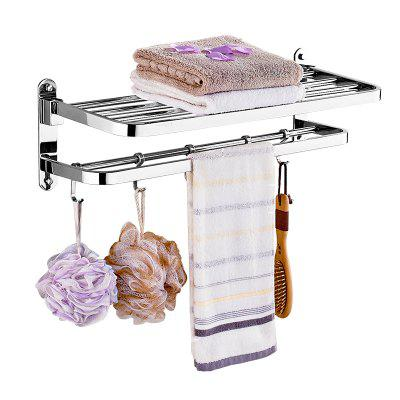 Buy Stainless Steel Bathroom Storage Rack 2-Layer Towel Rack SILVER for $63.38 in GearBest store