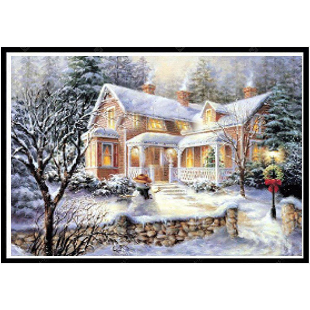 NAIYUE 9588 Snow View Cottage Print Draw 5D Diamond Painting Diamond Embroidery