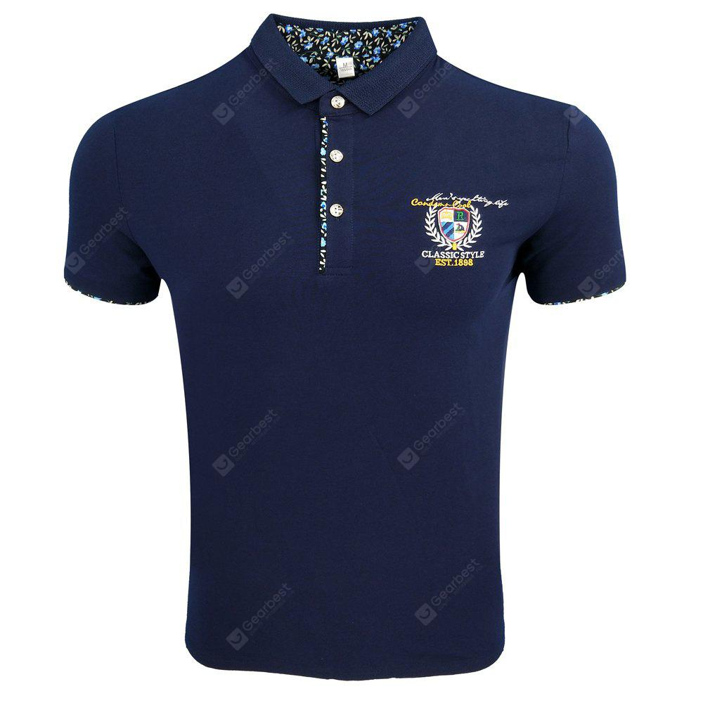 Menswear Summer Lapel Short Sleeve Embroidery Comfortable Print Fashion Casual and Simple POLO Shirt