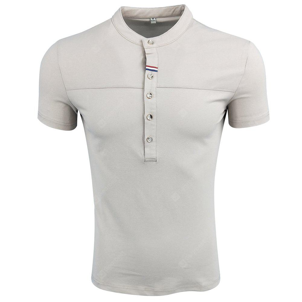 Menswear Summer Lap-Necked Short Sleeves Spliced Pure Color Comfortable Fashion Casual and Simple POLO Shirt