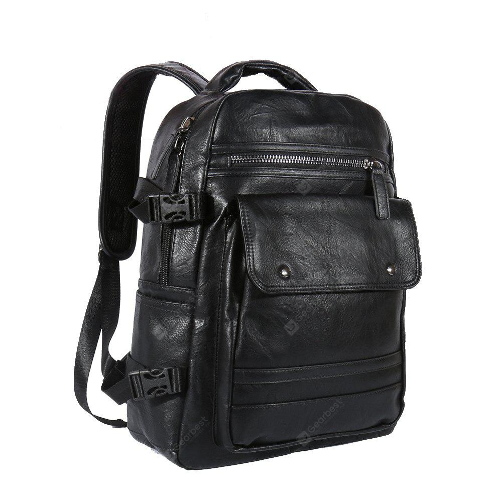Contracted PU Leather and Solid Color Design Backpack For Men