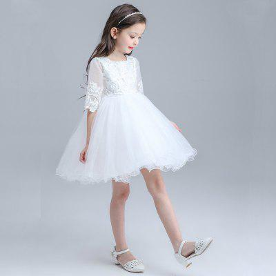 Children Wedding White Lace DressGirls dresses<br>Children Wedding White Lace Dress<br><br>Dresses Length: Mid-Calf<br>Material: Polyester<br>Package Contents: 1 x Dress<br>Pattern Type: Others<br>Silhouette: Ball Gown<br>Style: Fashion<br>Weight: 0.9000kg<br>With Belt: No