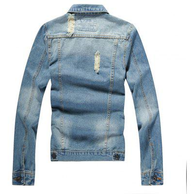 Fashion Broken Male Lapel Cowboy JacketMens Jackets &amp; Coats<br>Fashion Broken Male Lapel Cowboy Jacket<br><br>Clothes Type: Jackets<br>Collar: Turn-down Collar<br>Material: Jeans<br>Package Contents: 1?Jacket<br>Season: Spring, Summer, Fall, Winter<br>Shirt Length: Regular<br>Sleeve Length: Long Sleeves<br>Style: Vintage<br>Weight: 0.7000kg