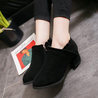 High Heeled Sanding South Korean Plate ShoeWomens Boots<br>High Heeled Sanding South Korean Plate Shoe<br><br>Boot Height: Ankle<br>Boot Type: Fashion Boots<br>Closure Type: Zip<br>Gender: For Women<br>Heel Type: Low Heel<br>Package Contents: 1xShoes(pair)<br>Pattern Type: Solid<br>Season: Spring/Fall, Winter<br>Toe Shape: Round Toe<br>Upper Material: Flock<br>Weight: 2.2500kg