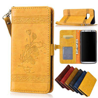 for Samsung Galaxy S8 Case Cover Embossed Oil Wax Lines Phone Case Cover PU Leather Wallet Style Case metal ring holder combo phone bag luxury shockproof case for samsung galaxy note 8