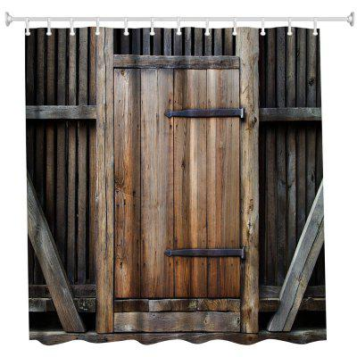 Fence Wooden Door Polyester Shower Curtain Bathroom High Definition 3D Printing Water-Proof