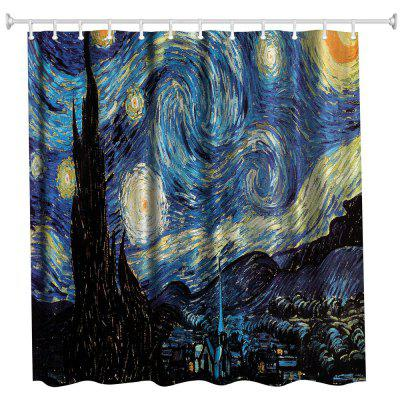 Stars Polyester Shower Curtain Bathroom  High Definition 3D Printing Water-Proof