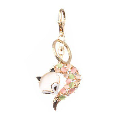 Fox Head Inlay parel strass sleutelhanger