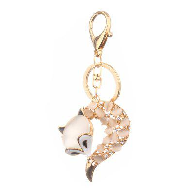 Fox Head Inlay Pearl Rhinestone Key Chain